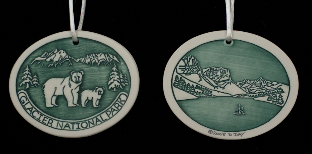 Green Porcelain Christmas Ornament - Bear with Cub