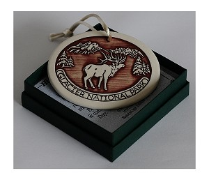 Red Porcelain Christmas Ornament  with Elk