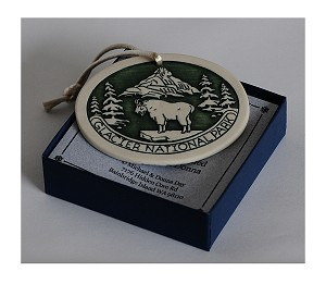 Green Porcelain Christmas Ornament with Mountain Goat
