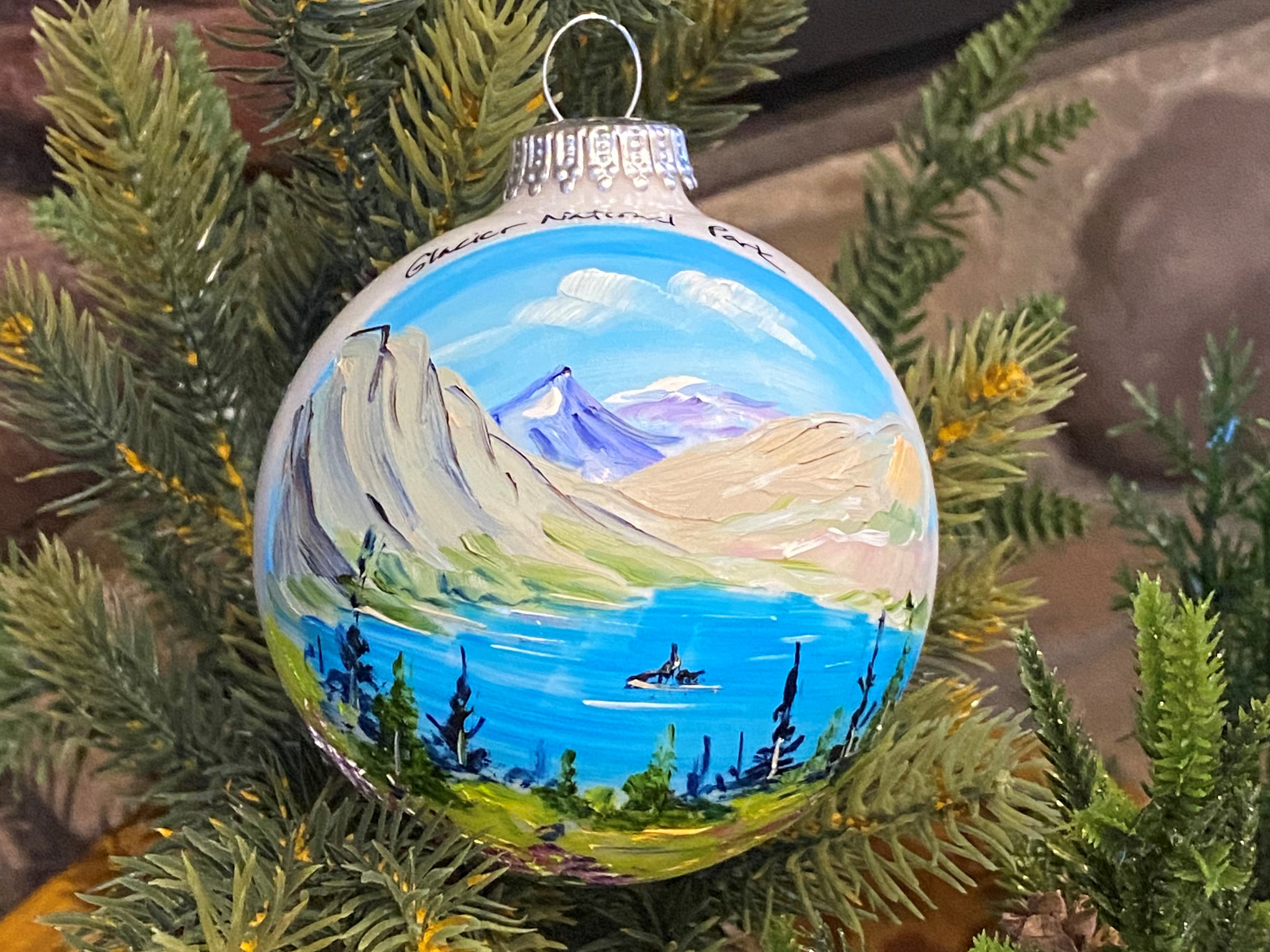 Hand Painted USA made traditional glass ornament St Mary Lake Scenic