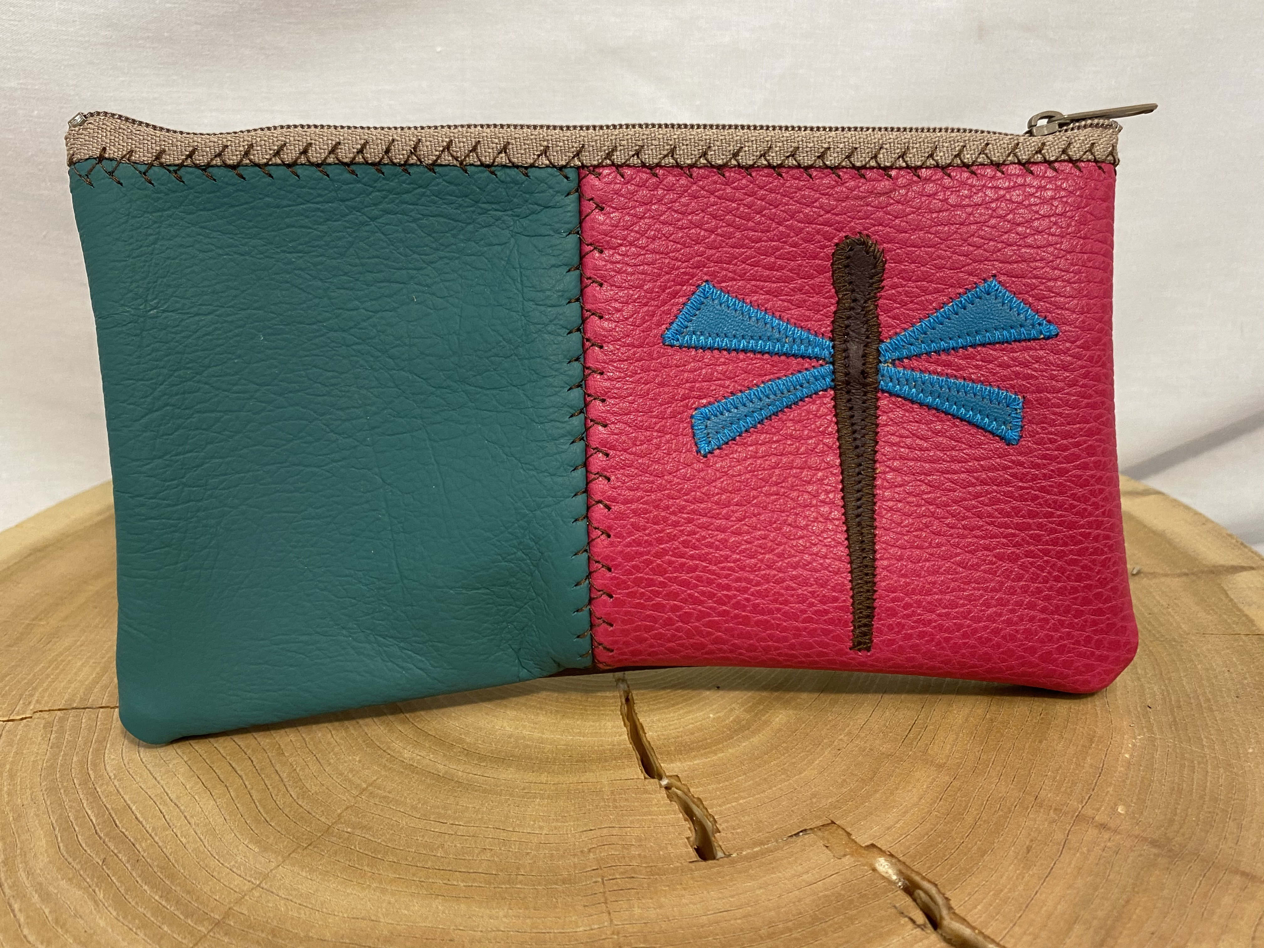 Dragonfly Leather Zip Pouch
