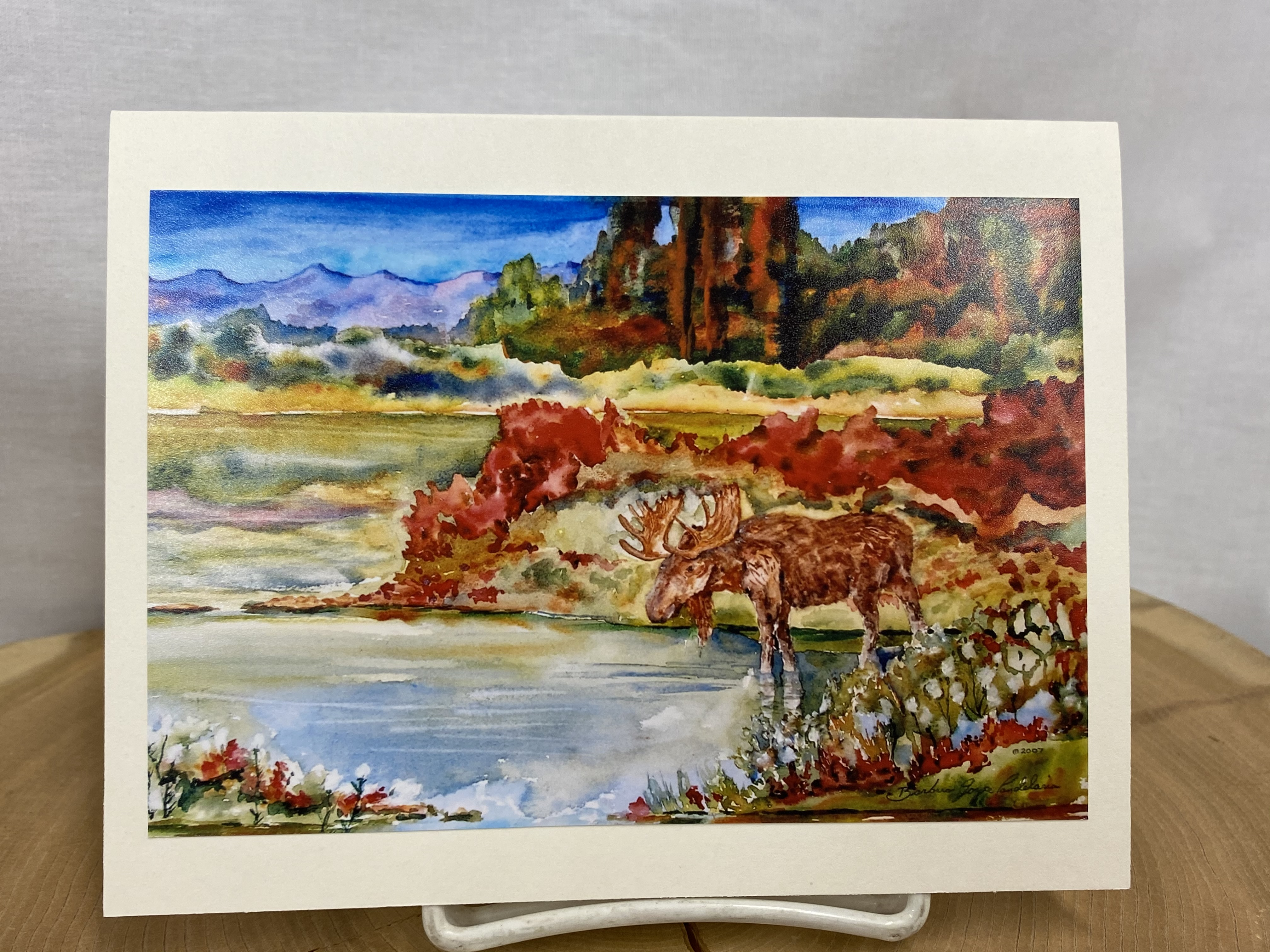 Notecard By local Artist Barbara Candelaria - Moose Scene