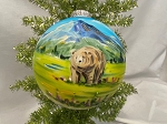 Hand Painted USA made traditional glass ornament Bear and Glacier Scene