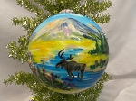 Hand Painted USA made traditional glass ornament Moose and Glacier Scene