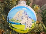 Hand Painted USA made traditional glass ornament Mountain Goat