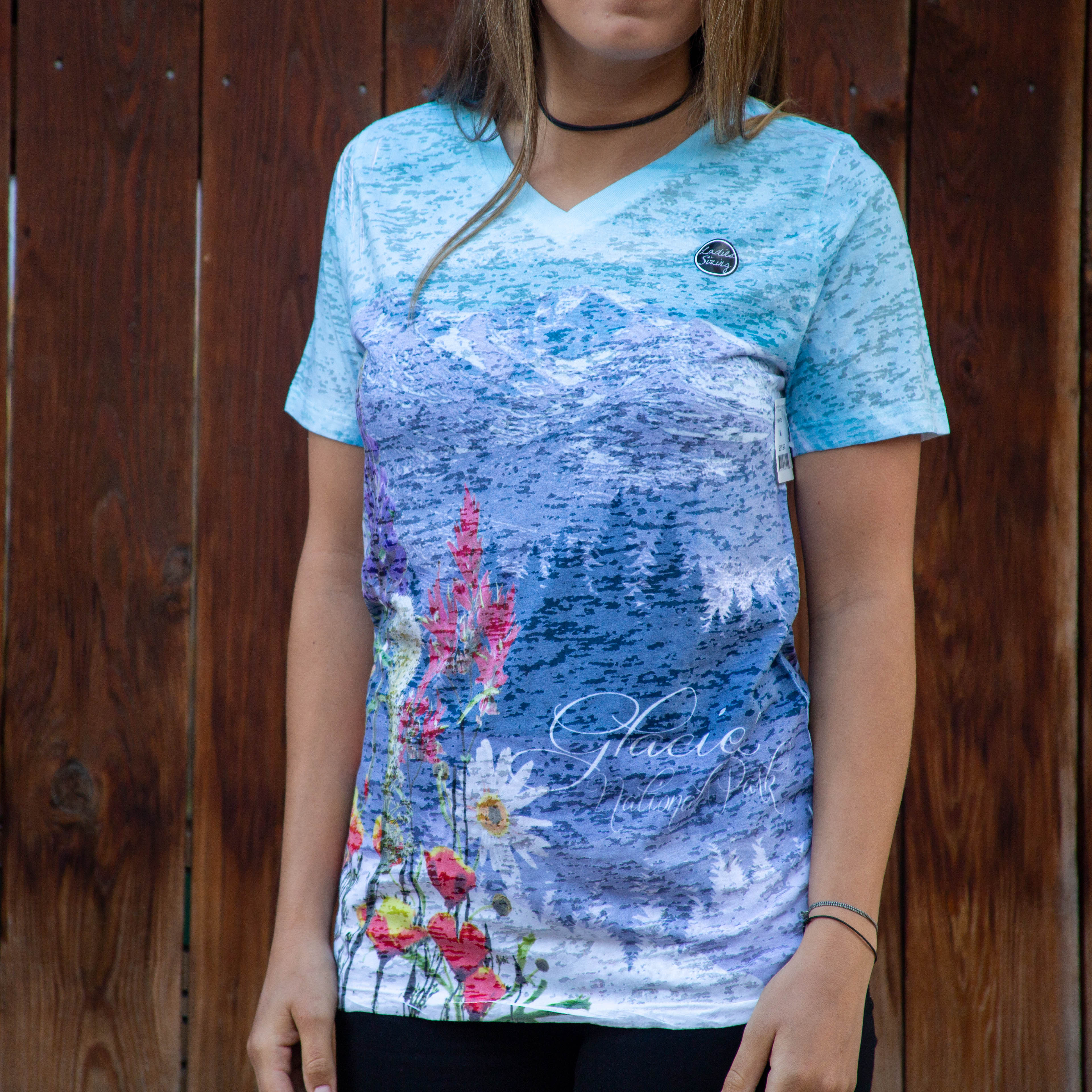 Glacier Womens Mountain Flowers Tee